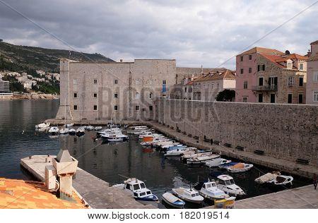 DUBROVNIK, CROATIA - NOVEMBER 30: Fortress of St. John (Sv. Ivan) and the marina in the old Dubrovnik, Croatia on November 30, 2015.