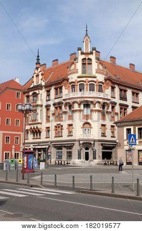 MARIBOR, SLOVENIA - APRIL 03: Ludwig Hof, corner of Postna street and Main square in Maribor, Slovenia on April 03, 2016.