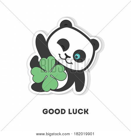 Good luck panda. Isolated cute sticker on white background.