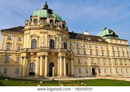 Front view of baroque monastery, Klosterneuburg near Vienna, Austria