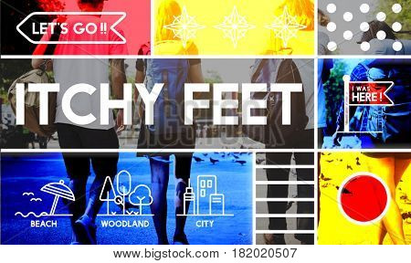 Itchy feet travel outdoors graphic