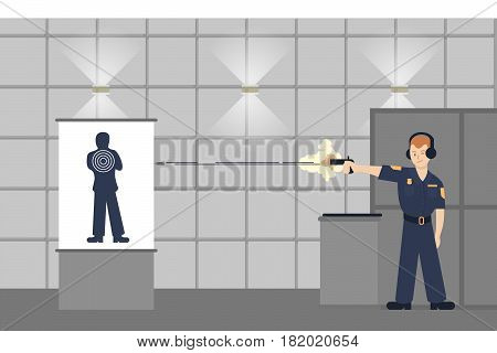 Shooting police officer. Training for protection and safety.
