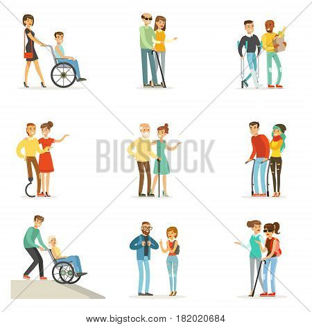 Help and care for disabled people set for label design. Cartoon detailed colorful Illustrations isolated on white background