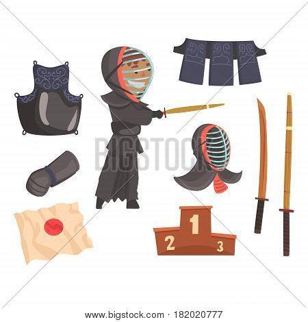 Japanese kendo sword martial arts fighter, armor and equipment. Modern Japanese martial art. Cartoon detailed colorful Illustrations isolated on white background