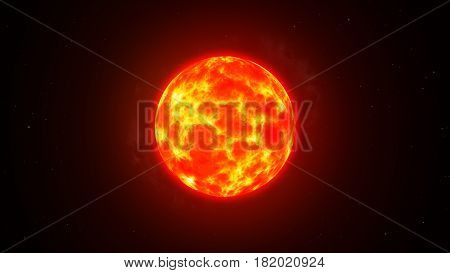 The Burning Sun In Space Among The Stars