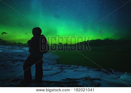 Northern Lights. Aurora Borealis Nature Landscape At Night