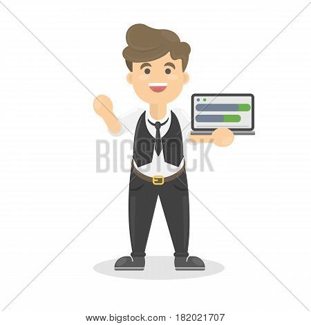Businessman with tabet that shows the schedule.