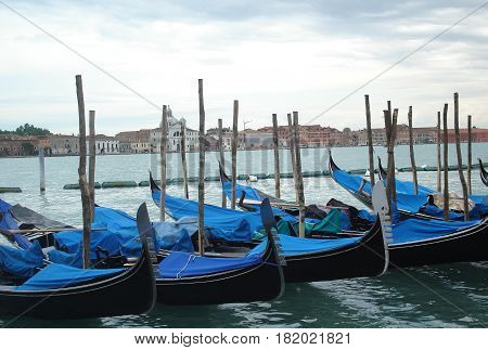 Venice gondolas moored between wooden poles, covered with blue cloth, Italy