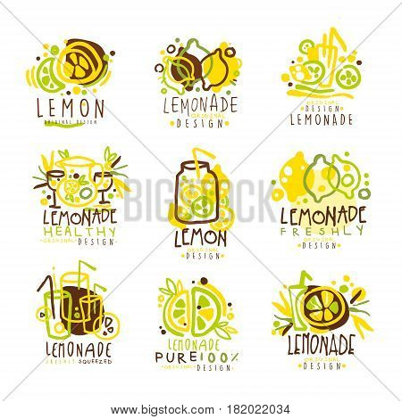 Lemonade green and yellow set for label design. Useful drinks, natural juices and beverages. Colorful vector Illustrations for stickers, banners, cards, advertisement, tags
