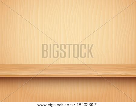 Long empty wooden shelf. Product presentation mock-up or template