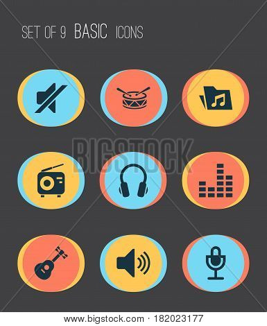 Audio Icons Set. Collection Of Tuner, Sound, Instrument And Other Elements. Also Includes Symbols Such As Barrel, Dossier, Musical.