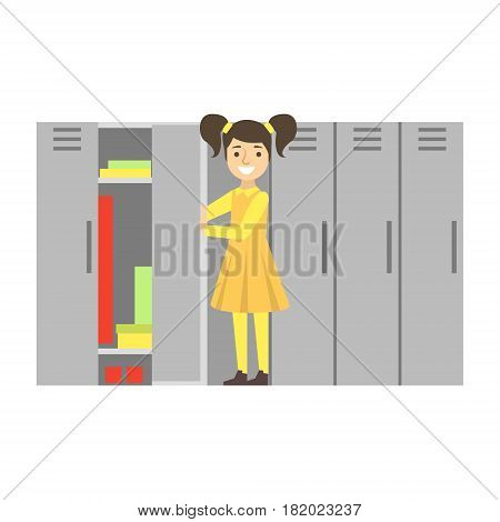 Girl In School Corridor Checking Her Locker, Part Of School And Scholar Life Series Of Minimalistic Illustrations. Education And Young Students Vector Primitive Drawing With Smiling Characters.