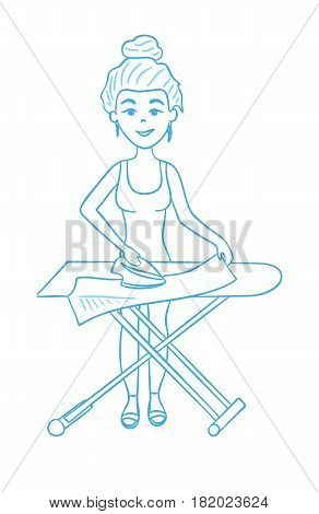 Isolated housewife ironing and standing on white background. Household chores. Line art.