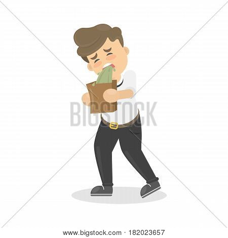 Isolated man vomits. Cartoon character on white background.