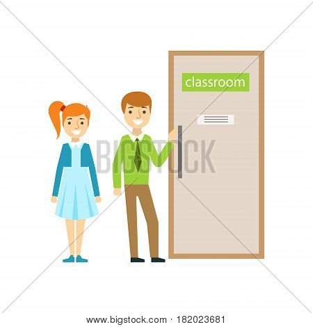 Boy And Girl In Front Of Classroom Door, Part Of School And Scholar Life Series Of Minimalistic Illustrations. Education And Young Students Vector Primitive Drawing With Smiling Characters.