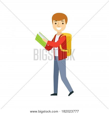 Boy Walking With Backpack Reading A Book, Part Of School And Scholar Life Series Of Minimalistic Illustrations. Education And Young Students Vector Primitive Drawing With Smiling Characters.