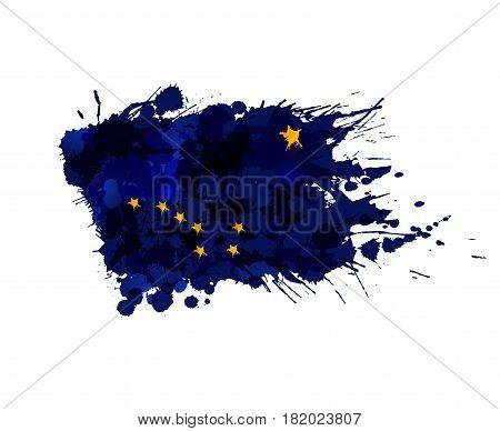 Flag of Alaska USA made of colorful splashes