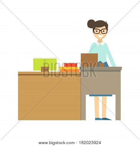 Teacher In Glasses Standing Behind The Desk Smiling, Part Of School And Scholar Life Series Of Minimalistic Illustrations. Education And Young Students Vector Primitive Drawing With Smiling Characters.