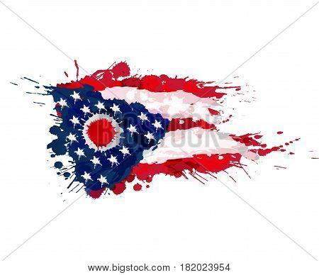 Flag of Ohio USA made of colorful splashes