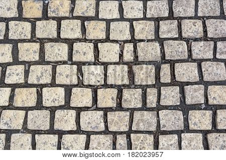 Texture of road surface with grey pave stones
