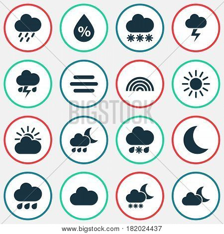 Weather Icons Set. Collection Of Flash, Night, Douche And Other Elements. Also Includes Symbols Such As Wet, Lightning, Sun.