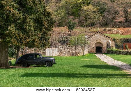 Georgia, Kutaisi - April 01, 2017: Gelati is a medieval monastic complex near Kutaisi. Gelati was founded in 1106 by King David IV and is recognized by UNESCO as a World Heritage Site.