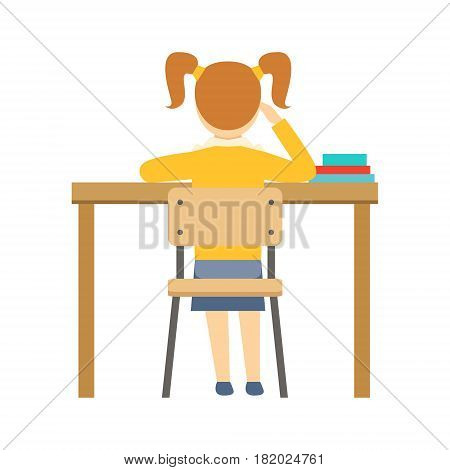Bored Girl Sitting At The Desk In Classroom, Part Of School And Scholar Life Series Of Minimalistic Illustrations. Education And Young Students Vector Primitive Drawing With Smiling Characters.