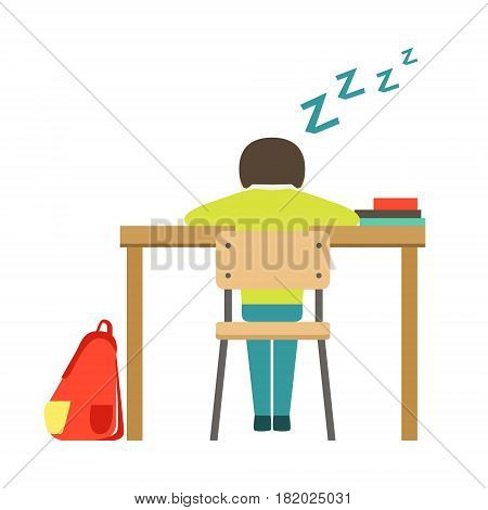Sleeping Boy Sitting At The Desk In Classroom, Part Of School And Scholar Life Series Of Minimalistic Illustrations. Education And Young Students Vector Primitive Drawing With Smiling Characters.