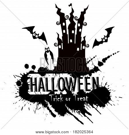 Grunge Halloween haunted castle on a white background