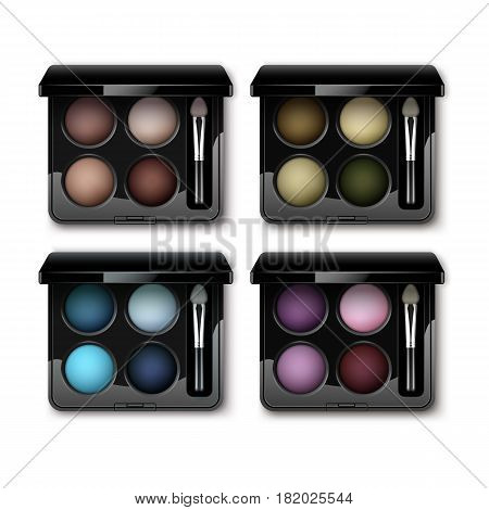 Vector Set of Round MultiColored Pastel Light Brown Cream Ocher Olive Yellow Green Bright Blue Turquoise Pink Violet Vinous Eye Shadows in Black Rectangular Plastic Case with Makeup Brush Applicator