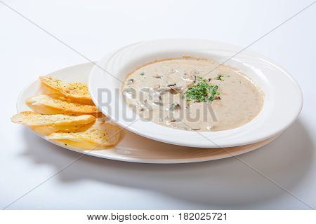 Mushroom Cream Soup With Croutons, Herbs And Spices
