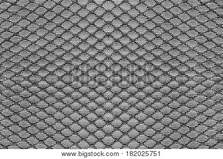 Black synthetic mesh texture closeup as a background
