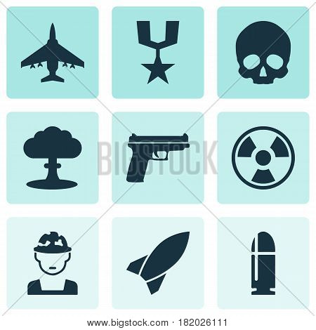 Army Icons Set. Collection Of Missile, Atom, Slug And Other Elements. Also Includes Symbols Such As Atom, Rocket, Fighter.