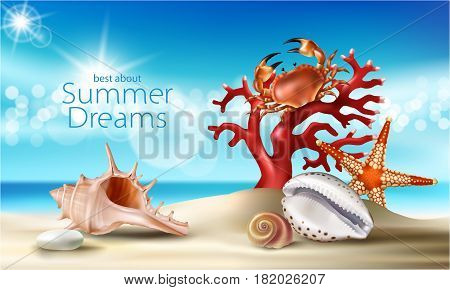 Vector illustration of a summer sandy beach with seashells, pebbles, starfish, crab and coral against the turquoise sky and the sea. An excellent advertising poster for a travel agency