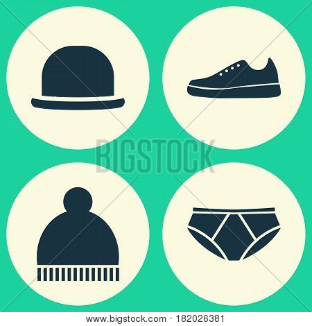 Garment Icons Set. Collection Of Briefs, Beanie, Panama And Other Elements. Also Includes Symbols Such As Beanie, Sneakers, Hat.