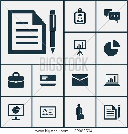 Job Icons Set. Collection Of Suitcase, Presentation Board, Payment And Other Elements. Also Includes Symbols Such As Card, Id, Letter.