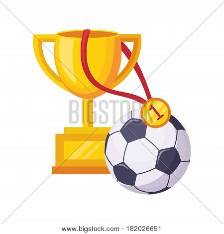 Champions Cup, Ball And Medal, Set Of School And Education Related Objects In Colorful Cartoon Style. Scholar Inventory Illustration Flat Vector Cute Drawing.
