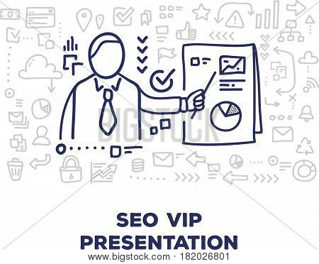Vector creative illustration of business man with document, line icons, header on white background. Seo vip presentation concept. Thin hand drawn line art doodle style design for web, site, banner, business presentation