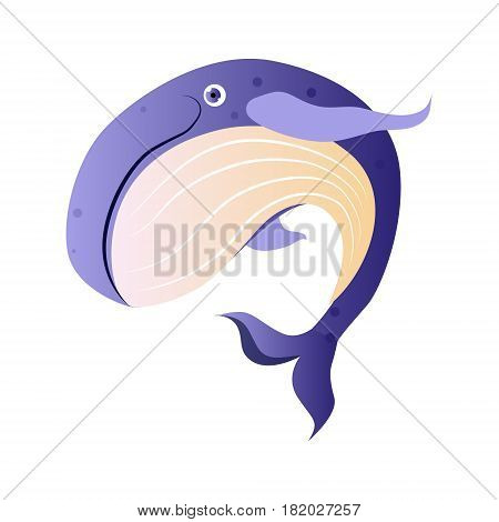 Cachalot or sperm whale, sea creature. Colorful cartoon character isolated on a white background