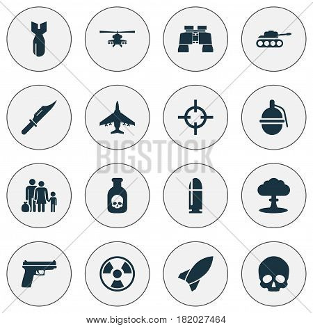 Combat Icons Set. Collection Of Slug, Rocket, Bombshell And Other Elements. Also Includes Symbols Such As Fatal, Scalper, Head.