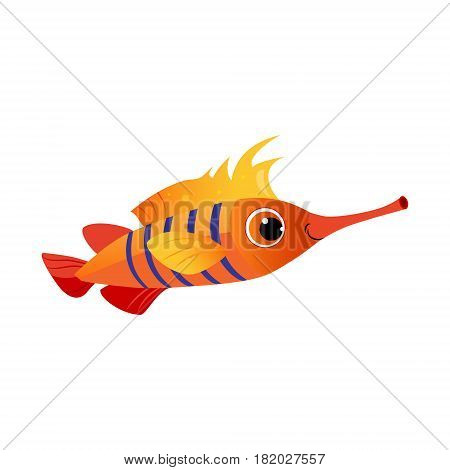 Orange longnose fish. Sea, tropical, aquarium fish. Colorful cartoon character isolated on a white background