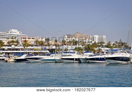 TENERIFE, SPAIN - JULY 1, 2011: Tenerife beach and a marina ocean. The view from the ocean side.