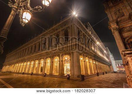 Piazza San Marco, Venice, Italy, illuminated at night
