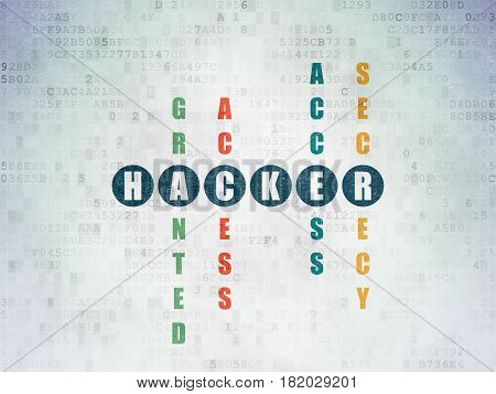 Protection concept: Painted blue word Hacker in solving Crossword Puzzle on Digital Data Paper background