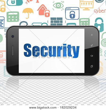 Security concept: Smartphone with  blue text Security on display,  Hand Drawn Security Icons background, 3D rendering