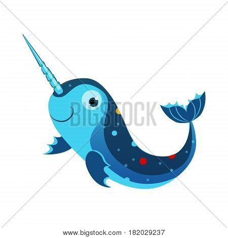 Blue marlin fish or swordfish. Sea, tropical, aquarium fish. Colorful cartoon character isolated on a white background