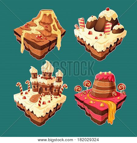 Vector 3D isometric illustration of sweet islands with mountains, rivers and waterfall of cakes, cream, chocolate, caramel. Elements of design for games