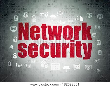 Security concept: Painted red text Network Security on Digital Data Paper background with  Hand Drawn Security Icons