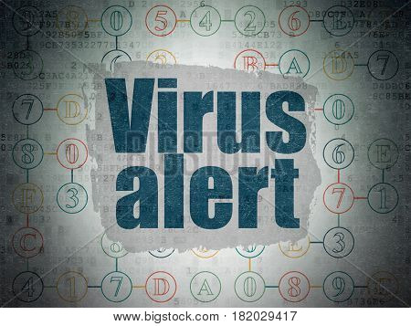Privacy concept: Painted blue text Virus Alert on Digital Data Paper background with  Scheme Of Hexadecimal Code