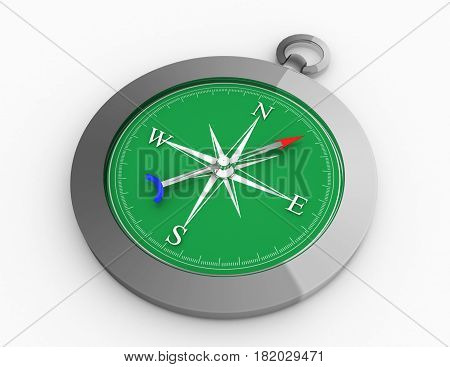 Silver Compass, Isolated Vintage Metal Compass On A White Background . Rendered Illustration